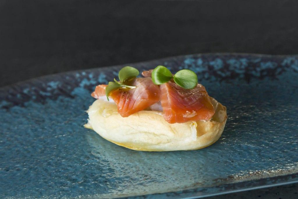 Plateselector - Bikini de salmón del Restaurante My Way Sky de Madrid