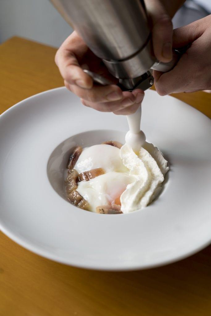 Plateselector - Huevo con queso y sardina del Restaurante Memòria de Valencia